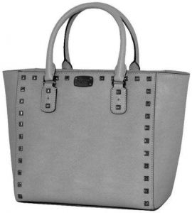 b7e3533b091e Michael Kors Saffiano Stud Pearl Grey Leather Large Tote Bag Top Zip