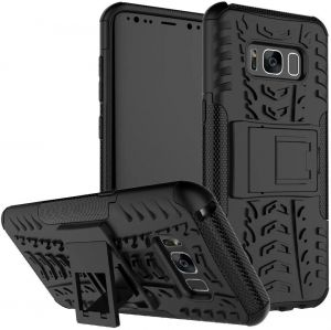 Samsung Galaxy S8 Plus -Heavy Duty Armor Hybrid ShockProof Hard Back Stand Case Cover -Black