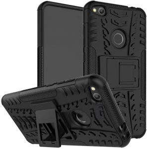 Huawei P8 Lite 2017 -Heavy Duty Armor Hybrid ShockProof Hard Back Stand Case Cover -Black