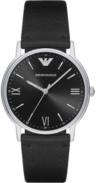 b2153f0ed24d Emporio Armani Men s Black Dial Leather Band Watch - AR11013