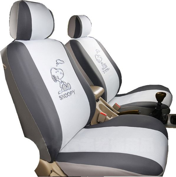 Snoopy Grey Light And Breezy Car Seat Cover Combo Set