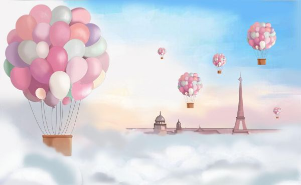 Flying Balloon Wallpaper For Childrens Three Dimensional Rooms