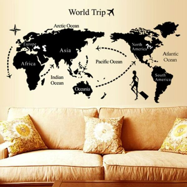 Black World Map Wall Stickers Fashion Home Decoration Classroom Office Living Room Sofa Background