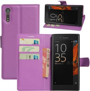 Flip cover for Sony Xperia XZ leather stand Case shockproof cover with Card Slots and Wallet Purple