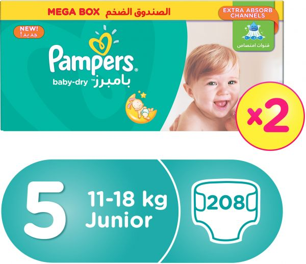 Pampers Baby-Dry Diapers, Size 5, Junior, 11-18 kg, Double Mega Box, 208 Count   Souq - UAE