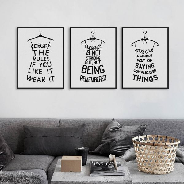 souq 3 pieces set black wall frames quotes poster 60x40cm each uae