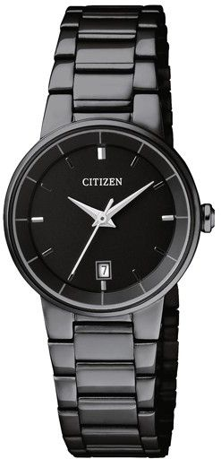 Citizen Eco-Drive Women s Black Dial Stainless Steel Band Watch ... f055368b9a