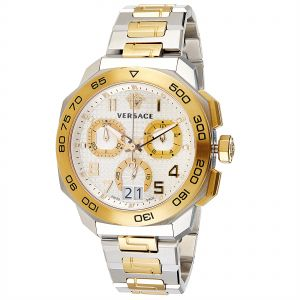dd46af83c Versace Men's Dylos Chrono Men's Two Tone Silver Dial Stainless Steel Band  Watch - VQC030015