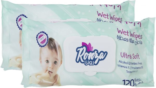 Ronza Set Of 2 Baby Blue Wet Wips, 120 Pieces