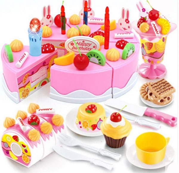 75pcs Birthday Cake Cutting Toys Plastic Play Pretend Food Toy Set For Kids