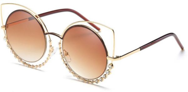 95a0c84ea86 Fashion Vintage Cat Eye Sunglasses Women Metal Swarovski Elements Crystal  Diamond Sun Glasses-07