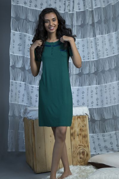 Zivame Nightgown For Women - Green  1477a6273
