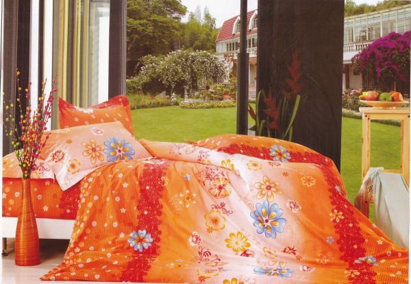3 Pc Bed Sheet Set, Queen Size, 100% Cotton 200 Tc   Twill Floral,  Multicolor  Orange, Red And White By Just Linen