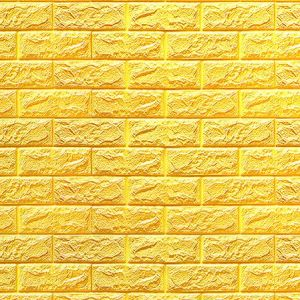 Happytoys 70x77cm PE Foam 3D Wall Stickers Safty Home Decor Wallpaper Sticker,yellow