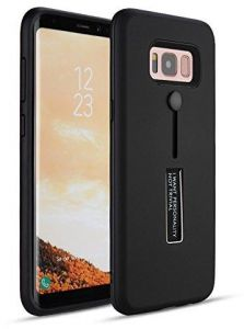 Samsung Galaxy S8 Matte Shockproof Ring Stand PC+TPU Back Case Cover - Black