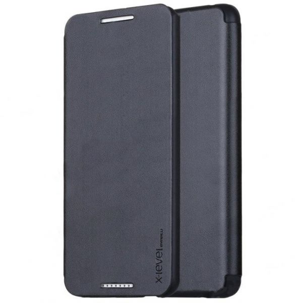 new arrival b172e 25365 HTC One M8 X-Level Flip Leather Case Cover - Black