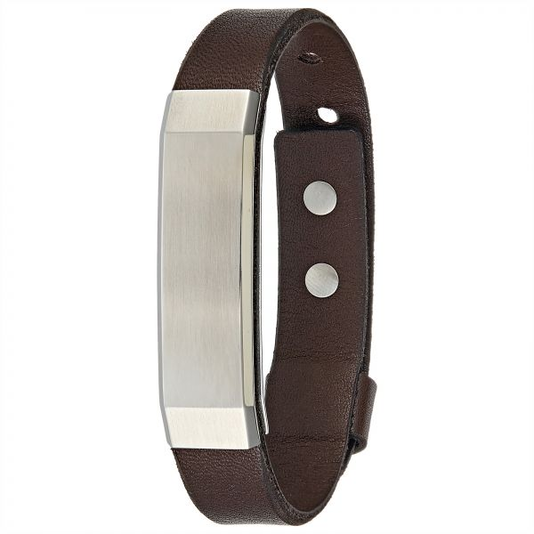 d3fc3be73 Fossil Men's Stainless Steel and Leather Wristband Bracelet ...