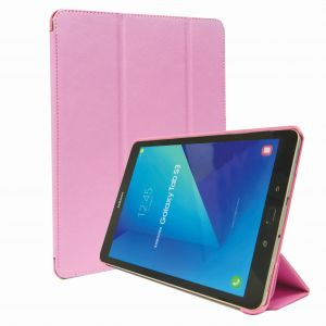 Samsung Galaxy Tab S3 9.7 Inch Tri-Fold Stand Folio Smart Leather Case Cover - Pink