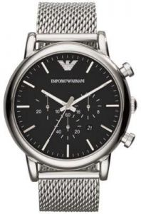 154bb1f1ceb Emporio Armani Classic Men s Black Dial Stainless Steel Mesh Band Watch -  AR1808