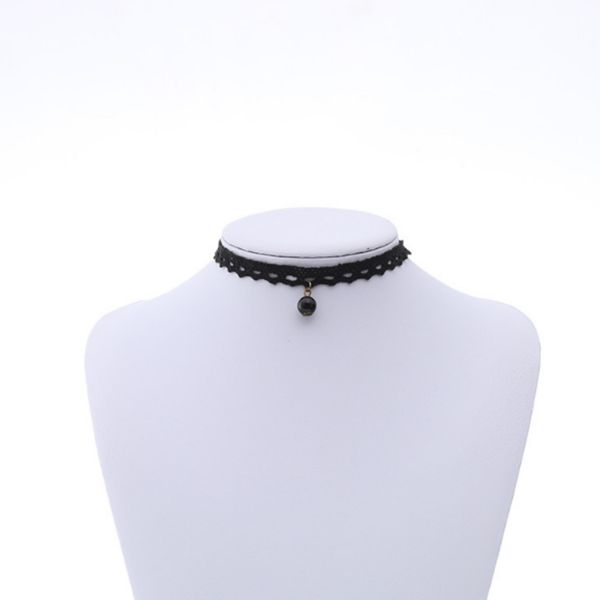 Necklace Set Black Velvet Crown Lace Black Pearl Tattoo Embroidered