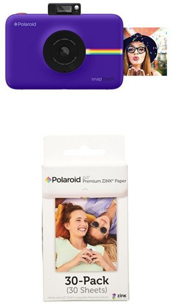 Polaroid Snap Touch Instant Digital Camera Purple With Polaroid 2x3