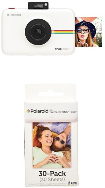 Polaroid Snap Touch Instant Digital Camera White With Polaroid 2x3