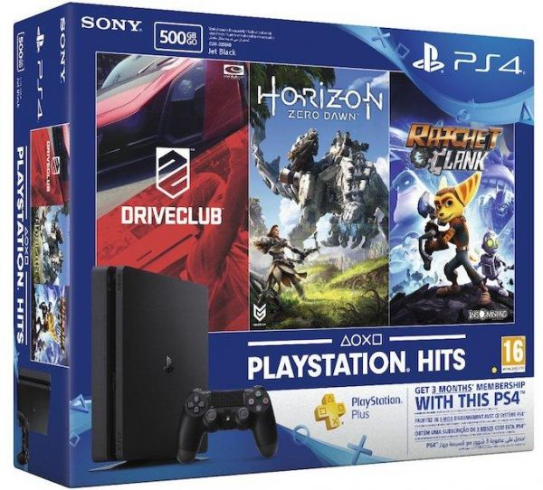 Sony Playststion 4 Slim 500GB with Horizon Zero Dawn, Ratchet and Clank, Driveclub, and Three Months PS Plus Membership
