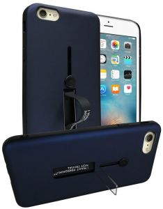Apple iPhone 6/6s (4.7 Inch) Matte Shockproof Ring Stand PC TPU Back Case Cover - Navy Blue