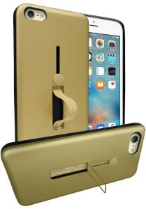 e48d7a3b7176bb Apple iPhone 6/6s Plus (5.5 Inch) Matte Shockproof Ring Stand PC + TPU Back  Case Cover - Gold