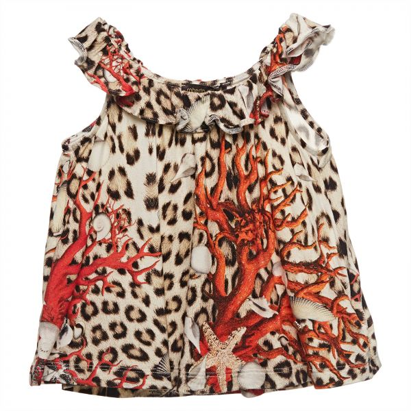 901a2afd64 Roberto Cavalli Junior Multi Color Asymmetrical Neck Cami   Strappy Top For  Girls