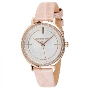 444a7939f41a6 Michael Kors Women s White Dial Leather Band Watch - MK2663