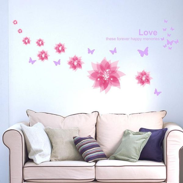 Removable Dream Pink Flower Wall Stickers