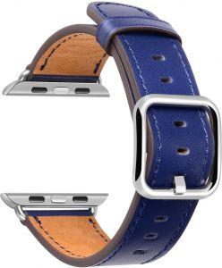 Apple Watch Band 38mm Genuine Leather iWatch Wrist Strap Replacement - Royal Blue