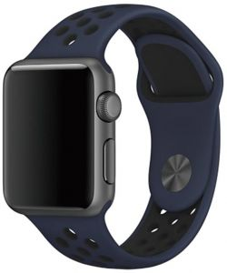 Silicone Replacement Wrist Bracelet Sport Band Strap For Apple Watch 38mm Midnight blue and black