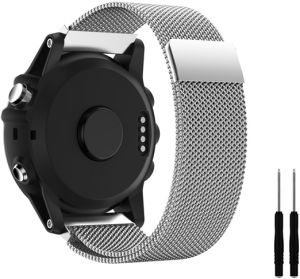 ... Band,Milanese Loop Stainless Steel Mesh Replacement Bracelet Strap for Fenix 3 /Fenix 3 HR / Fenix 5X Smart Watch with Unique Magnet Lock, No Buckle ...
