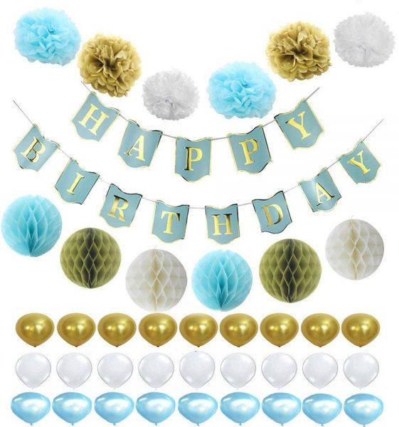 40 Pics Several Patterns Happy Birthday Banner Tissue Paper Flowers