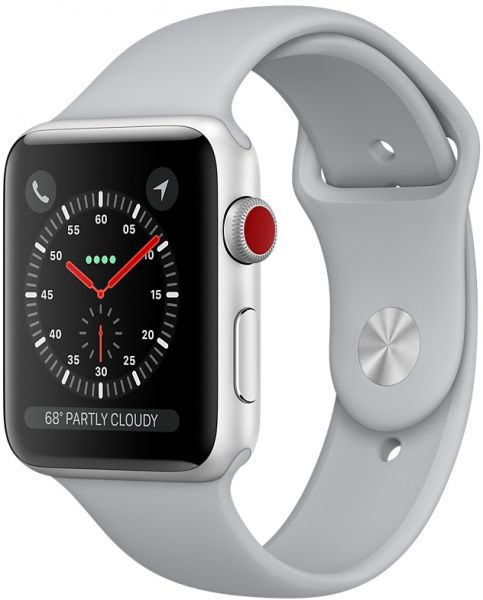 half off 24b8a 0d83d Apple Watch Series 3 - 42mm Silver Aluminum Case with Fog Sport Band,  GPS+Cellular, watchOS 4, MQK12