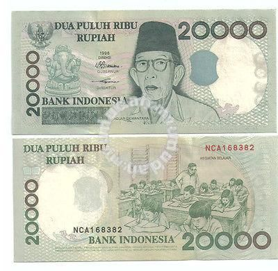 1998 INDONESIA,TWENTY THOUSAND RUPIAH,UNC BANK NOTE WITH