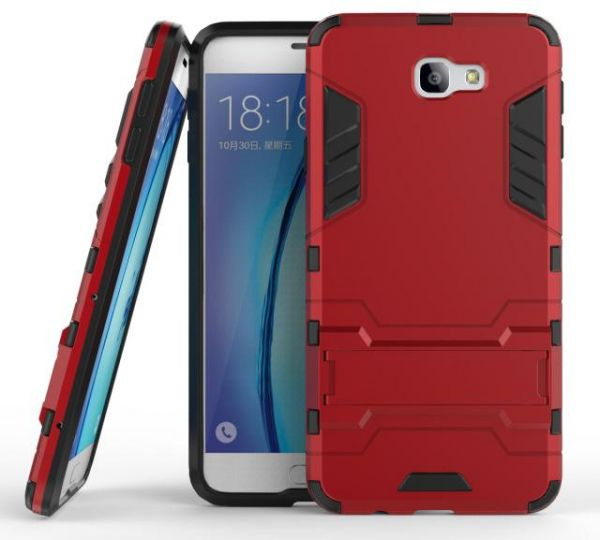 low priced 86413 f492e Samsung J7 Prime Iron Man Armor Protective Cover Two-In-One Bracket Case -  Red