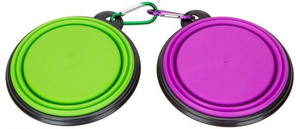 2pcs/set Portable Collapsible Silicone Pet Dog Food Water Travel Bowl