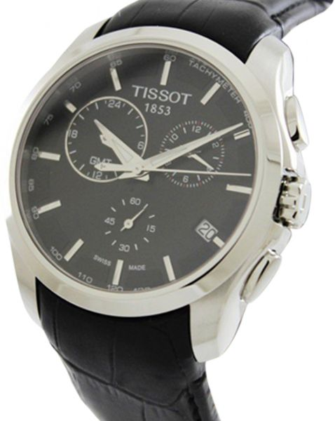 Tissot Men's Black Dial Leather Band Watch - T035.439.16.051
