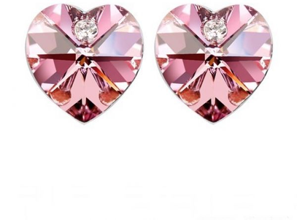 Swarovski Elements 18K White Gold Plated Earrings Encrusted with Pink Swarovski Crystals, SWR-406