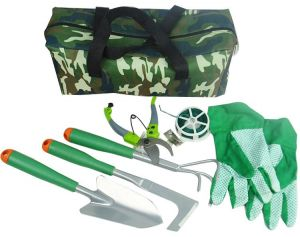 6 Pcs Garden Tools Set In One Bag Includes Harrow, Spades, Trowel, Gloves,  Wire And Scissors