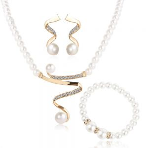 4 Pcs Vintage Simulated Pearl Jewelry Sets For Women Wedding Bridal Crystal  Necklace Earrings Gold Color Bracelet African Set 0721f4dab4f8