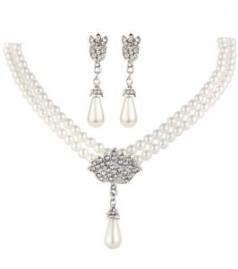 BESTPICKS Charming Bride Simulated Pearl Bling Crystal Water Drop Pendant  Necklaces Earring Fashion Jewelry Accessory Jewelry Set 90e707c7ef73