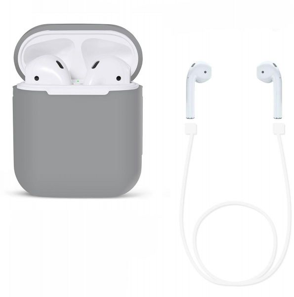 factory price af1f9 3a683 Protective AirPods Case Soft Silicone Charging Cover Pouch Case Sleeve with  Cable - Grey