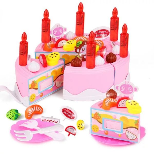 43pcs Kids Plastic Birthday Cake Toy Pretend Play Kitchen Set Souq