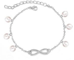 f93ccb7bd8d White Gold Plated Chain Infinity With Pearl Beads Anklets for Women