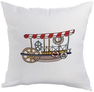Printed Pillow, Polyester fabric 40X40 cm, fishing boat