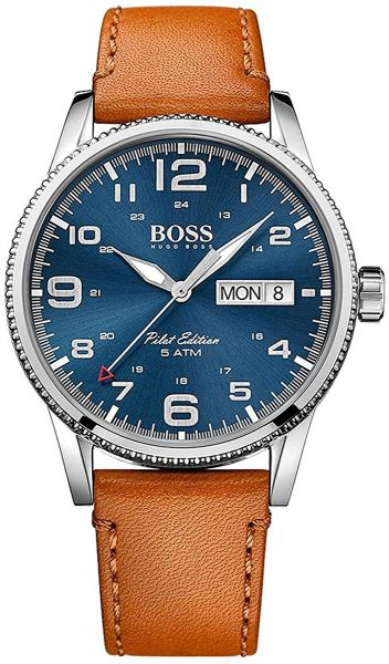 86b5a335f53c2 hugo boss Pilot Vintage Men s Blue Dial Leather Band Watch - 1513331 ...